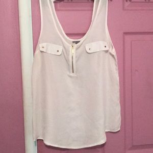 Charlotte Russe White quarter zip tank top